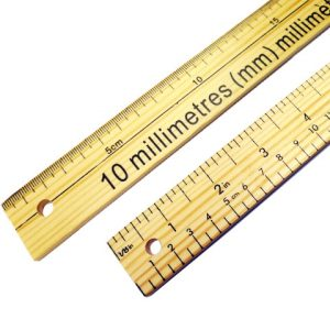 Double Sided Dual Marked Wooden Metre Rule