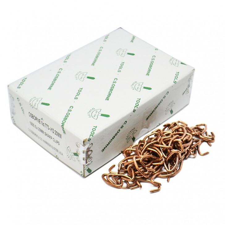 #773-KS20  20mm Copper Coated Hog Rings 1000 Box