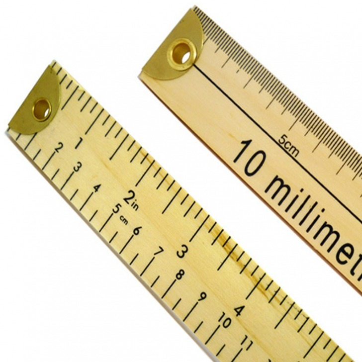 Double Sided Dual Marked Wooden Metre Rule (Brass Ends)